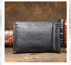 Handmade Leather Mens Brown Long Leather Wallet Wristlet Bag Envelope Bag Clutch Wallet for Men
