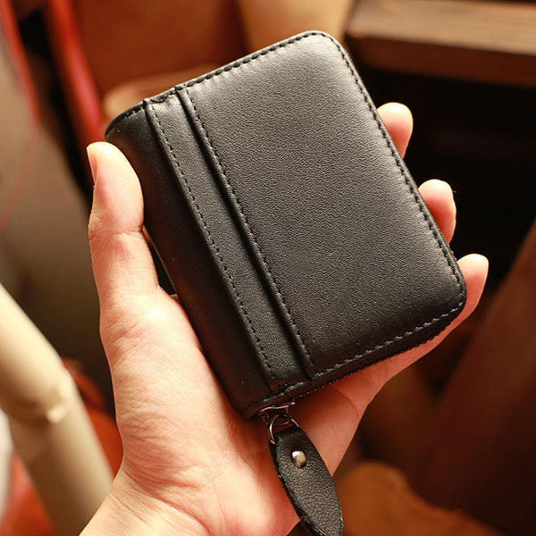 Black Leather Mens Card billfold Wallet Zipper Small Card Wallet Card Holders For Men