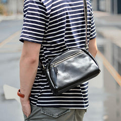Black Leather Mens Casual Small Saddle Courier Bags Messenger Bag Coffee Brown Postman Bags For Men