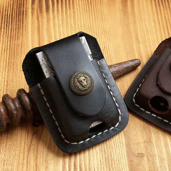 Handmade Mens Black Leather Classic S.T.Dupont Lighter Case S.T.Dupont Lighter Holder with Belt Loop