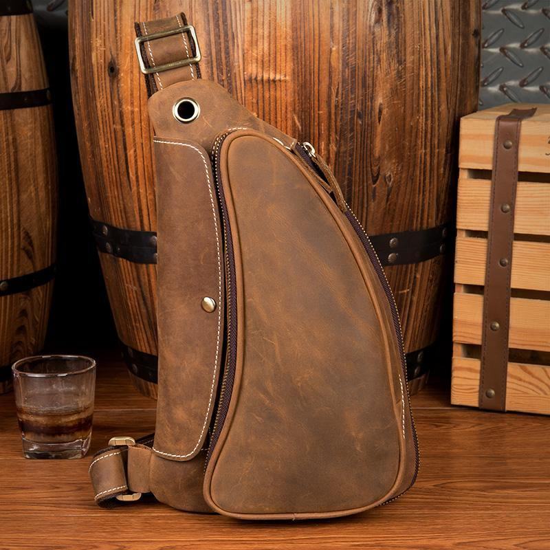 Cool Brown Leather Mens Sling Pack Sling Bags Crossbody Pack Chest Bag for men