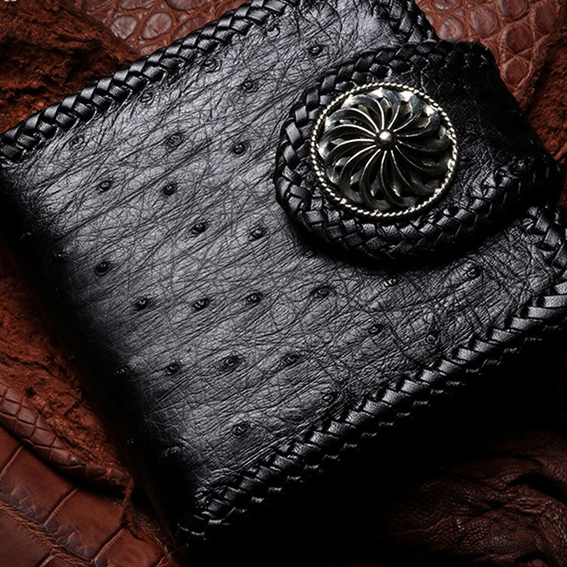 Handmade Leather Ostrich skin Mens Short Wallet Cool Chain Wallet Biker Wallet for Men