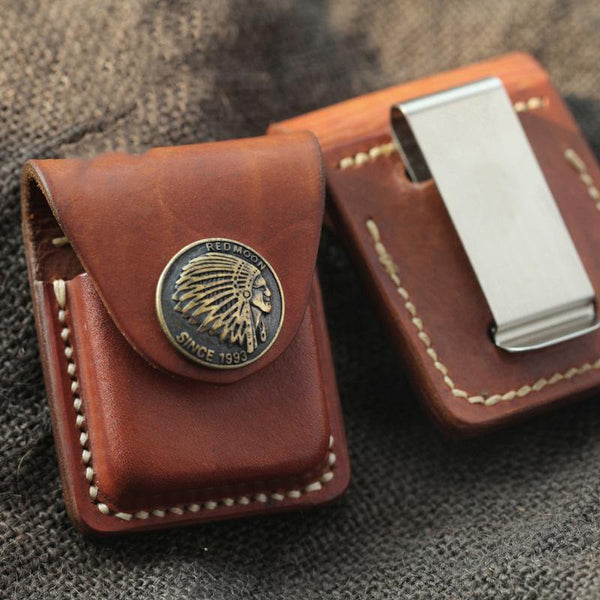 Handmade Indian Brown Leather Mens Classic Zippo Lighter Case With Belt Clip Lighter Holders For Men