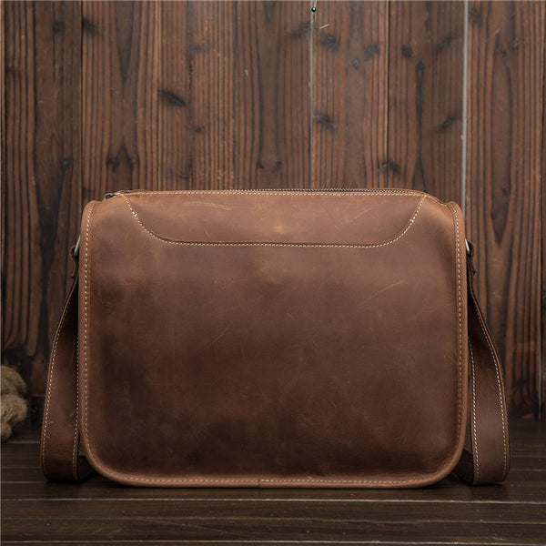 Vintage Brown Leather Men's Side Bag Coffee Courier Bag Shoulder Bag For Men