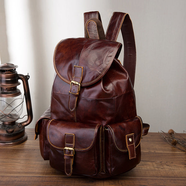 Vintage Brown Leather Men's Backpack 14'' Computer Backpacks Travel Backpack For Men