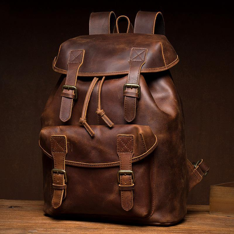 Fashion Dark Brown Mens Leather 15inchs Computer Backpack Cool Travel Backpacks School Backpack for men