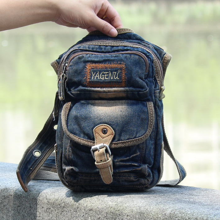 Blue Denim Mens Casual Small Side Bag Vertical Messenger Bags Jean Courier Bag For Men