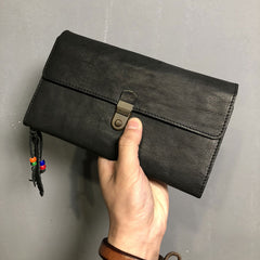 Genuine Leather Mens Clutch Cool Slim Wallet Passport Travel Clutch Wristlet Wallet for Men