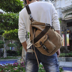 Canvas Black Mens Barrel Sling Bag Green Chest Bag Side Bag Bucket One Shoulder Backpack For Men