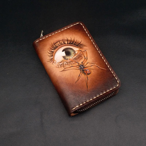 Dark Coffee Handmade Tooled  Eye and Spider Leather Mens Key Wallet Holders For Men