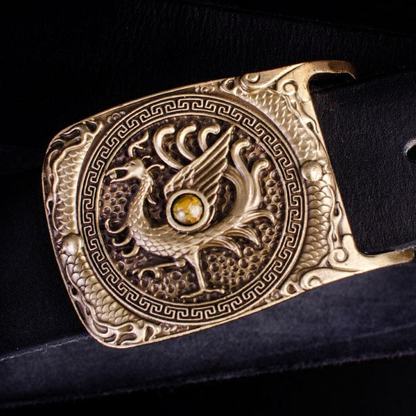 Handmade Genuine Leather Punk Rock Auspicious Phoenix Mens Cool Men Biker Trucker Leather Belt
