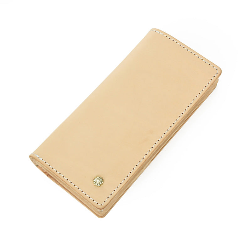 Handmade Studded Mens Light Beige Leather Long Wallets Cool Bifold Long Wallet for Men