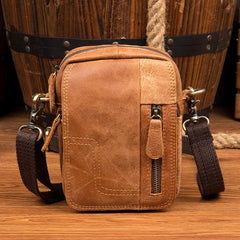 Cool Brown Leather Waist Bag Belt Pouch Small Side Bag Messenger Bag Courier Bags for Men