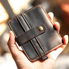Vintage Brown Slim Leather Mens Card Wallets Small Card Holder Front Pocket Wallet For Men