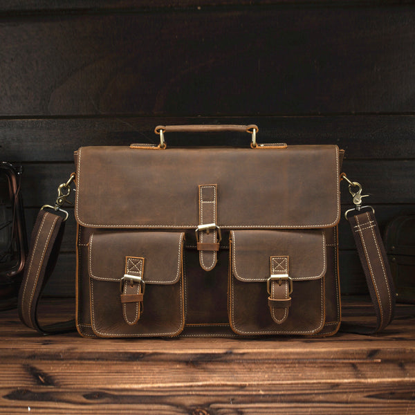 Retro Leather Men's Business Briefcase Computer Bag Diagonal Travel Bag For Men
