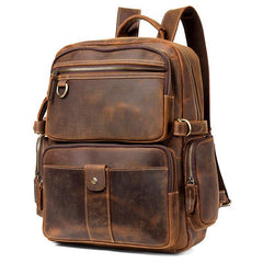 Dark Brown Mens Leather 15-inch Computer Backpacks Fashion Travel Backpacks School Backpacks for men