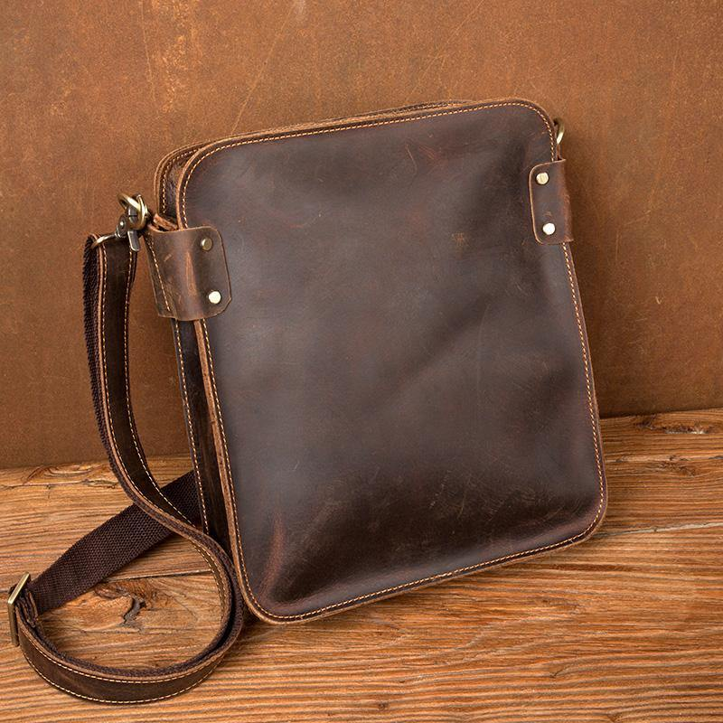 Vintage Dark Brown Cool Leather 12 inches Vertical Courier Bag Messenger Bags for Men