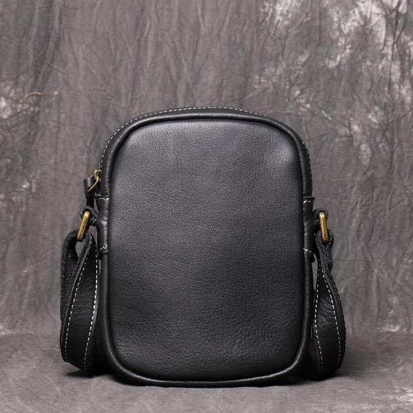 Black Leather Small Zipper Messenger Bag Vertical Side Bag Brown Courier Bag For Men