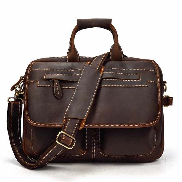 Simple and Retro Leather Briefcase Handbag Work Bag Business Bag Shoulder Bags For Men
