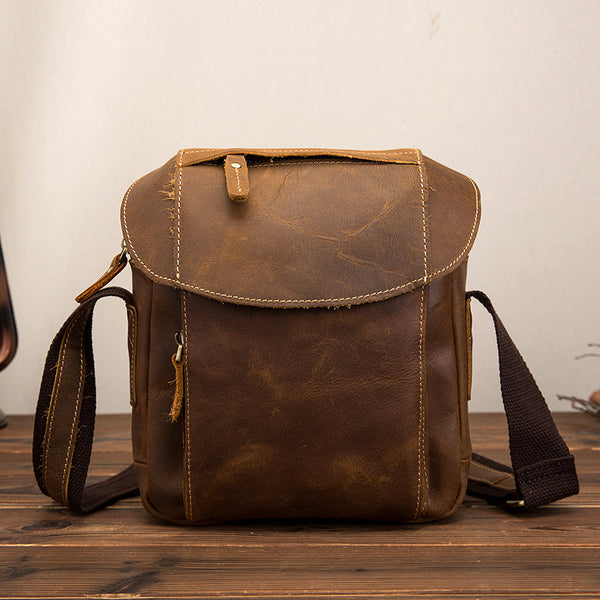 Casual Retro Leather Men's Shoulder Diagonal Bag Business Backpack For Men