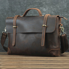 Brown Leather Men's Professional Briefcase 14'' Laptop Handbag Business Bag For Men