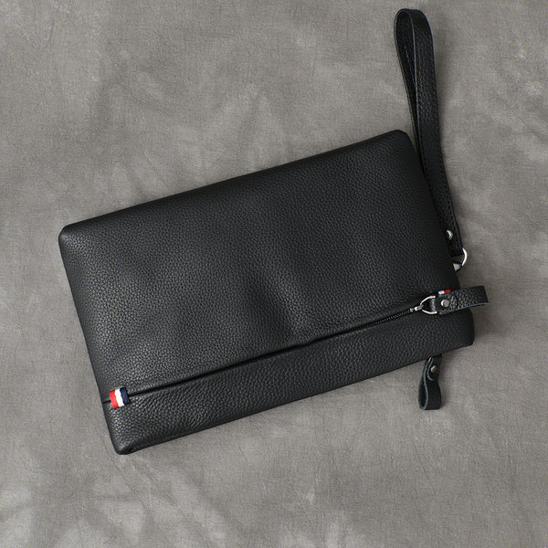 Black Leather Mens Business Clutch Bag Wristlet Clutch Wallet For Men
