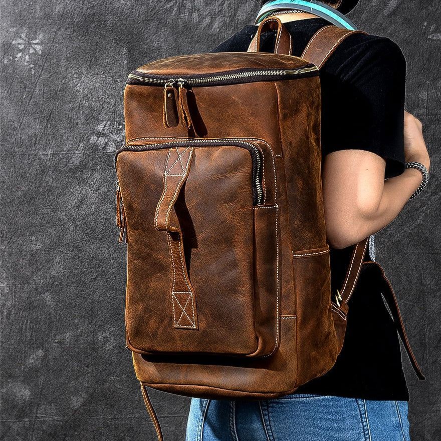 "Retro Brown Leather Mens 14"" Barrel Laptop Backpack Hiking Backpack Travel Backpack Large Backpack for Men"