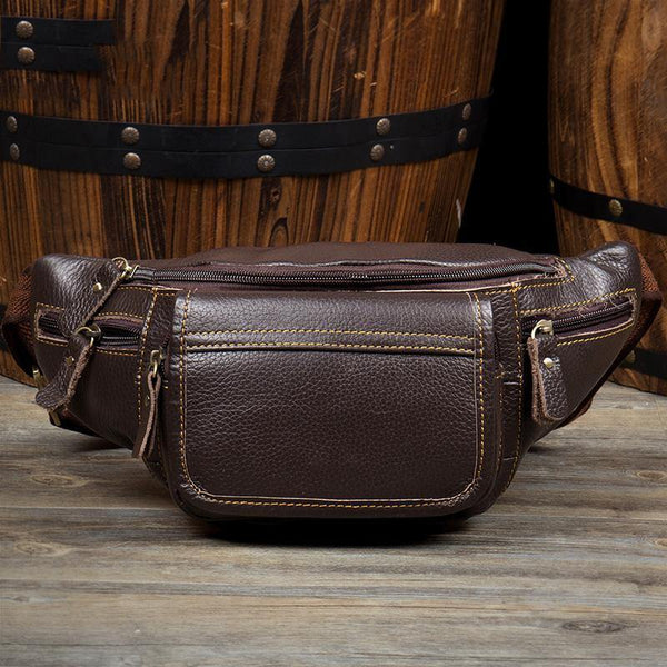 Vintage Black Leather Mens Fanny Pack Waist Bags Coffee Hip Pack Belt Bag Brown Bumbag for Men