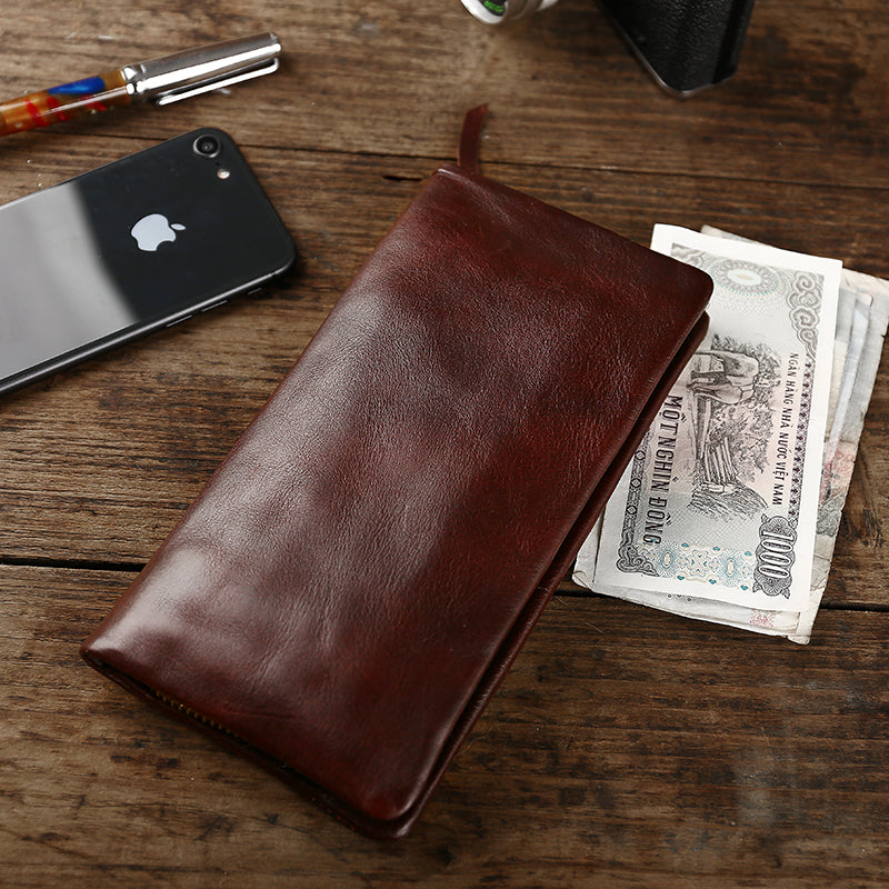 Cool Leather Mens Black Slim Long Wallet Zipper Bifold Card Wallet Clutch Wallet For Men