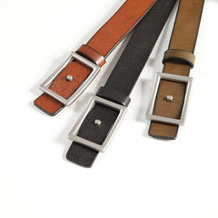 Handmade Slim Genuine Leather Black Fashion Belt Brown Belt Long Belts Slim Belt for Men