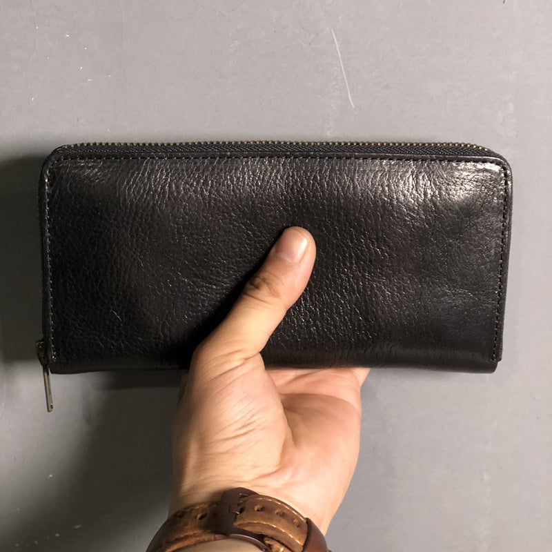 Fashion Black Leather Mens Long Wallet Brown ZIpper Long Wallet Coffee Clutch Wallet Men