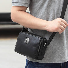 BADASS Black LEATHER MENS Small Ipad Courier Bag SIDE BAG Casual MESSENGER BAG FOR MEN