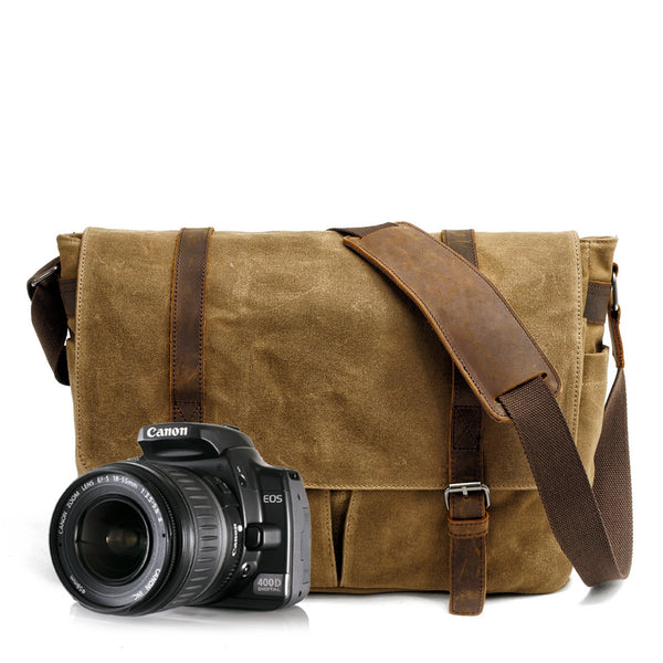 Waxed Canvas Leather Mens Waterproof 14'' Camera Bags Black Side Bag Messenger Bag Shoulder Bag For Men