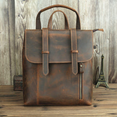 Badass Brown Leather Men's 12 inches Side Courier Bag Bag Computer Backpack School Backpack For Men