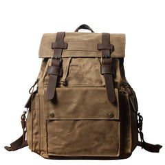Cool Waxed Canvas Retro Mens Black Large 15'' Travel Backpack Computer Backpack Hiking Backpack for Men