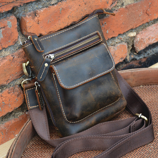 Handmade Leather Men's Cellphone Bag Waist Bag Belt Bag Shoulder Messenger Bag For Men