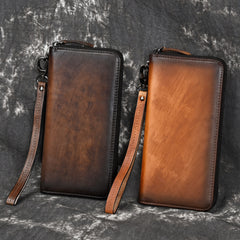 Vintage Brown Leather Men's Clutch Long Wallet Tan Zipper Wristlet Wallet For Men