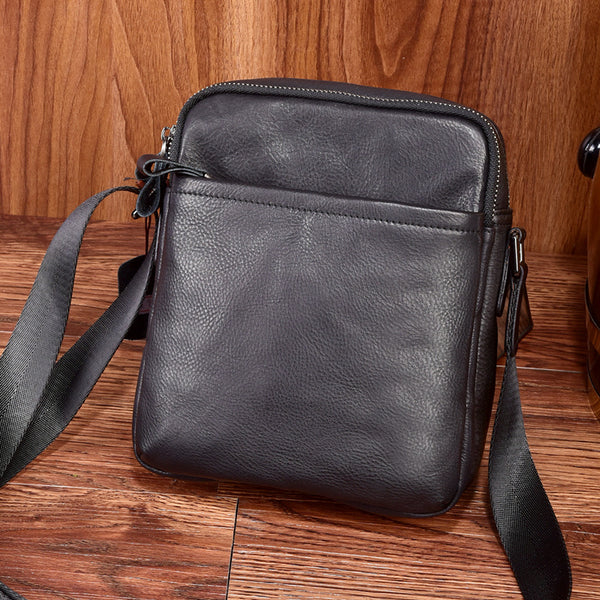 Korean Fashion Leather Mens Tablet Messenger Bag Small Side Bag Mini Messenger Bag For Men