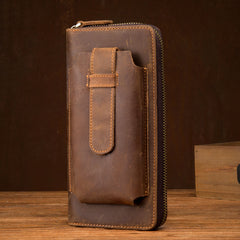 Brown Cool Mens long Wallet Wristlet Bag Clutch Wallet Mobile Long Wallet for Men