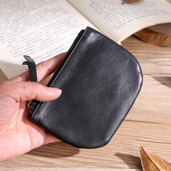 Black Leather Mens Card Wallets Cool Small Zipper Change Wallet Coin Purse For Men