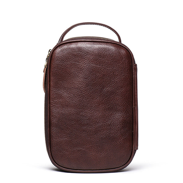 Vintage Brown Leather Men's Clutch Bag Double Zipped Small Wristlet Handbag Storage Bag For Men