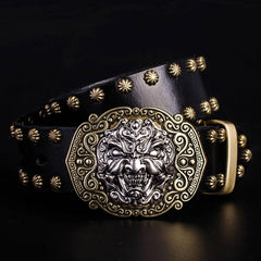 Handmade Genuine Leather Punk Rock Chinese Monster Mens Cool Men Biker Trucker Leather Belt