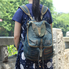 Fashion Denim Blue Mens Womens Backpack School Backpack Blue Jean Travel Backpacks For Men
