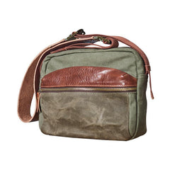 Canvas Mens Small Green Side Bag Canvas Messenger Bags Canvas Travel Courier Bag for Men