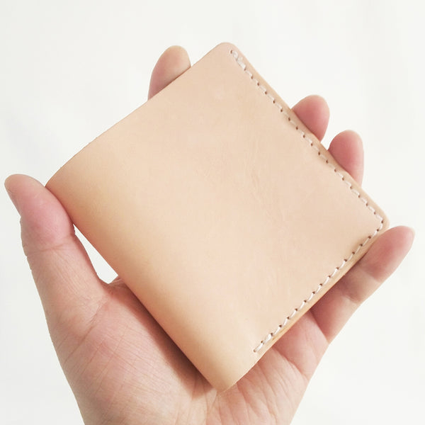 Light Beige Handmade Mens Bifold Leather Small Wallets Short Card Wallet for Men