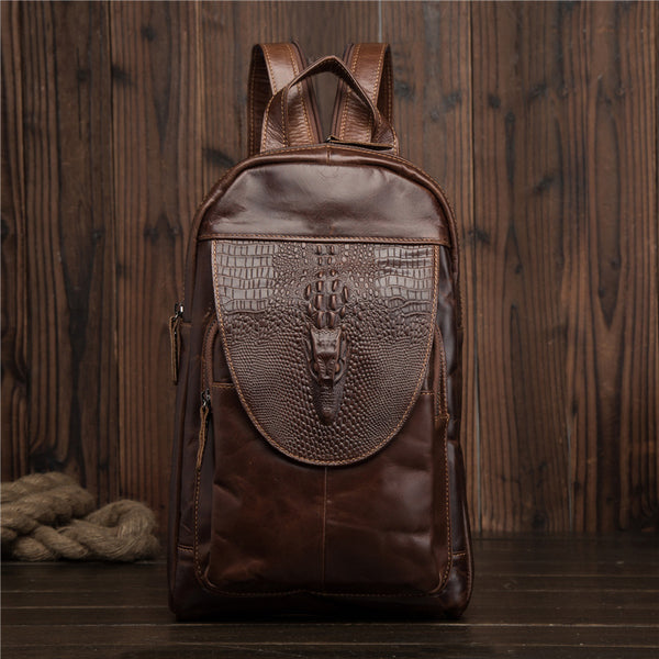 Trendy Fashion Leather Men's Backpack Travel Bag Chest Bag For Men