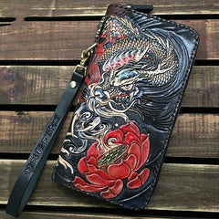 Black Handmade Chinese Dragon Tooled Leather Long Biker Wallet Chain Wallet Clutch Wallet For Men