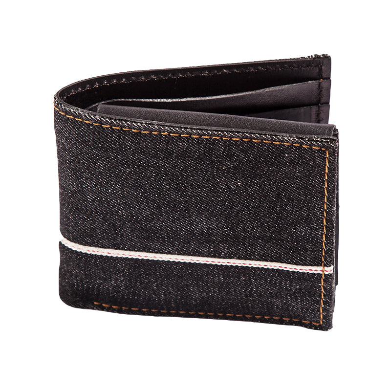 Handmade Cool Black Denim Mens Leather billfold Small Wallets Bifold Small Wallet For Men