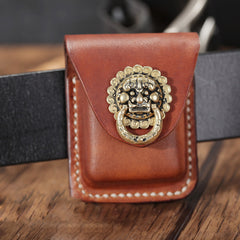 Cool Brown Leather Mens Zippo Lighter Case Holster Standard Zippo Lighter Holder with Belt Clip For Men