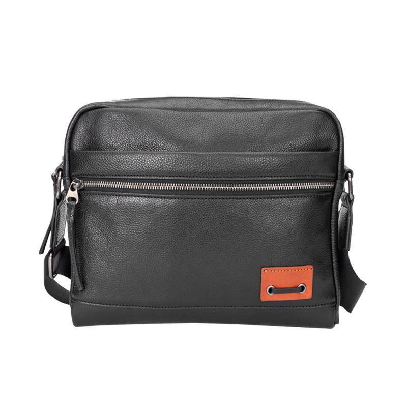 Black Fashion Leather Mens 10 inches Side Bag Black Courier Bag Messenger Bags for Men